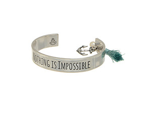 Nothing is Impossible Silvertone Message Cuff Style Bracelet