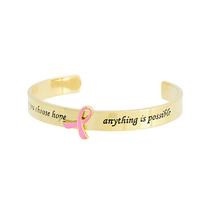 Once You Choose Hope, Anything Is Possible' Goldtone Message Cuff Style Bracelet