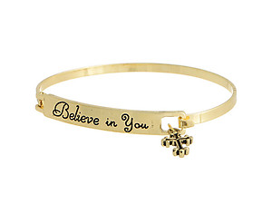 Goldtone Believe in You Hook Style Bangle Bracelet