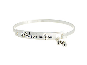 Silvertone Believe in You Hook Style Bangle Bracelet