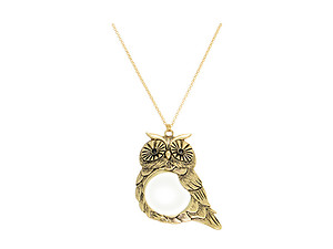 Goldtone Owl Pendant Necklace With Magnifying Glass