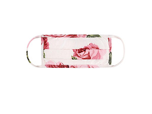 Ivory Floral Print Reusable T-Shirt Cloth Face Mask with Pleats