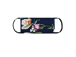 Navy Floral Print Reusable T-Shirt Cloth Face Mask with Pleats