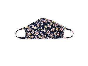 Navy Reusable Floral Print T-Shirt Cloth Face Mask with Seam