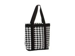 Black & White Houndstooth Print Insulated Cooler Tote