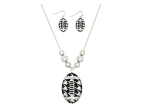 Houndstooth Print Football Pendant Jewelry Set