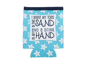 I Want My Toes In The Sand Neoprene Coozie