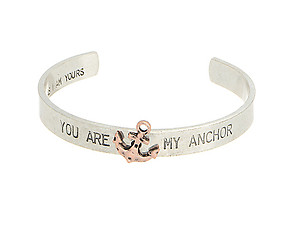Silvertone You Are My Anchor Cuff Bracelet