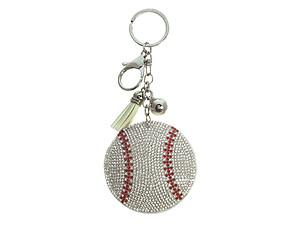 Baseball Tassel Bling Faux Suede Stuffed Pillow Key Chain Handbag Charm