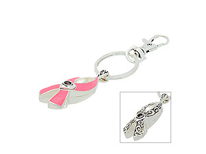 Breast Cancer Awareness Magnifier Message Keychain