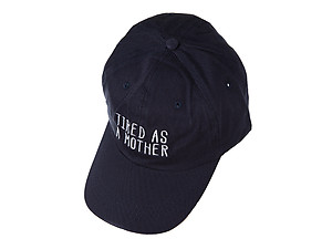 Navy Tired As A Mother Embroidered Adjustable Back Hat Cap