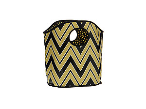 Black and Gold Chevron Print Polypropylene Bucket Tote
