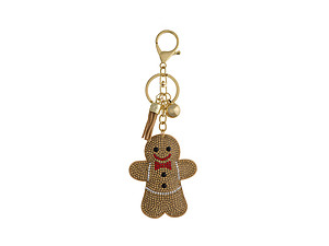 Gingerbread Man Tassel Bling Faux Suede Stuffed Pillow Key Chain Handbag Charm
