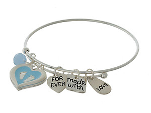 Forever Made With Love Maternity Charm Bangle Bracelet with Matching Bead
