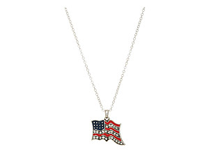 Silvertone Flag Pendant Necklace