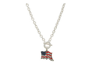 Silvertone Toggle Flag Charm Pendant Necklace