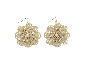 Ivory Lace Flower Accented Goldtone Fishhook Earrings