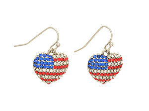 Heart Shaped Flag Fishhook Earrings