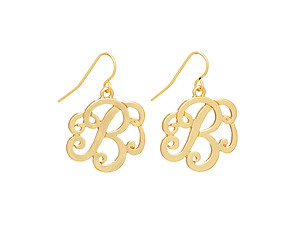 Goldtone Initial B Fishhook Earrings