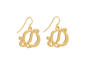 Goldtone Initial D Fishhook Earrings