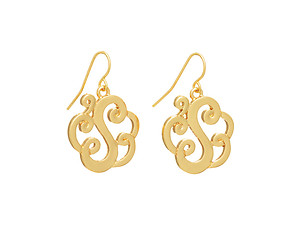 Goldtone Initial S Fishhook Earrings