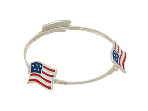 Silvertone Three Wire Wrapped Flag Bangle Bracelet