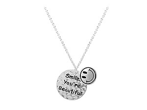 Silvertone Modern Metallic Tiny Smile You're Beautiful Happy Face Pendant Charm Necklace