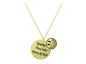 Goldtone Modern Metallic Tiny Smile You're Beautiful Happy Face Pendant Charm Necklace