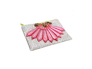 Colorful & Fun Glitter Jewel & Acrylic Accented Top Zipper Fashion Clutch ~ Style 6177