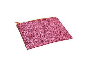 Colorful & Fun Glitter Jewel & Acrylic Accented Top Zipper Fashion Clutch ~ Style 6184