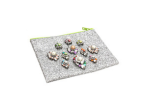 Colorful & Fun Glitter Jewel & Acrylic Accented Top Zipper Fashion Clutch ~ Style 6187
