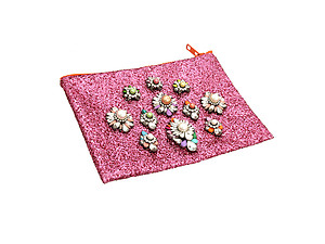Colorful & Fun Glitter Jewel & Acrylic Accented Top Zipper Fashion Clutch ~ Style 6188
