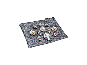 Colorful & Fun Glitter Jewel & Acrylic Accented Top Zipper Fashion Clutch ~ Style 6189
