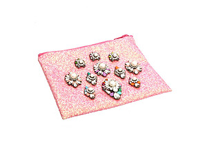 Colorful & Fun Glitter Jewel & Acrylic Accented Top Zipper Fashion Clutch ~ Style 6191