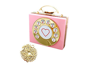 Pink Vintage Rotary Phone Dial Hard Acrylic Clutch Purse