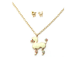 Colorful Shiny Gold Resin Bead Puppy Long Jewelry Set