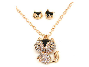 Modern Metallic Clear Crystal Pave Fox Long Jewelry Set