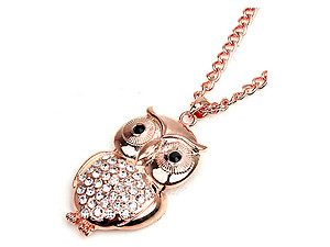 Crystal and Rose Gold Urban Glam Owl Long Jewelry Set