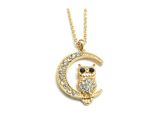 Goldtone Crystal Accent Owl Crescent Moon Pendant Necklace