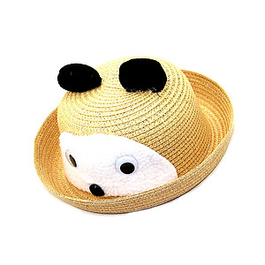 Natural Yellow Cute Animal Mouse Theme Bright Color Summer Kids Straw Fedora Hat