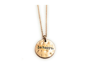 Goldtone Hammered Pattern Round Be Happy Necklace