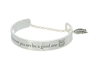 Silvertone Whatever You Are Be A Good One Message Toggle Bracelet