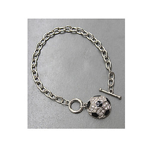 Crystal Accent Soccer Theme Chain Toggle Bracelet