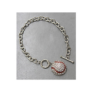 Crystal Accent Baseball Theme Chain Toggle Bracelet