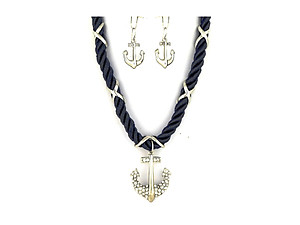 Navy & Silvertone Anchor Pendant Nylon Cord Necklace Set