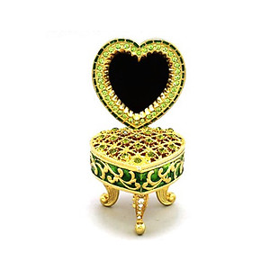 Green Deco Heart Picture Frame Jewelry Trinket Box
