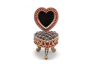 Red Deco Heart Picture Frame Jewelry Trinket Box