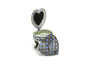 Blue Deco Heart Picture Frame Jewelry Trinket Box