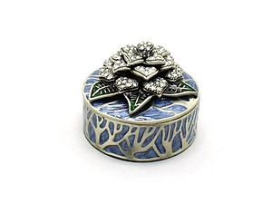 Blue Deco Enamel and Crystal Flower Jewelry Trinket Box
