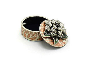 Orange Deco Enamel and Crystal Flower Jewelry Trinket Box